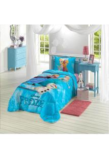 Edredom Solteiro Infantil Lepper Frozen Azul