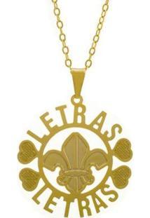 Gargantilha Horus Import Letras Banhada Ouro 18K Feminina - Feminino-Dourado