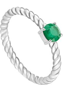 Anel Em Prata Com Cristal Verde - Jolie Aneis 14