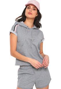 Camiseta Fiveblu Raglan Com Capuz Cinza