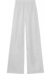 Burberry Calça Pantalona Com Estampa Monogramada - Branco