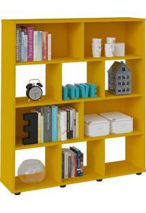 Estante Para Livros E Objetos Amarelo Com 10 Nichos - Artely