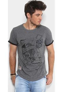 Camiseta Ecko Tigre Com Bolso Masculina - Masculino-Grafite