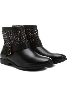 Bota Couro Biker Shoestock Tachas Feminina - Feminino-Preto