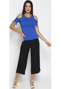 Blusa Com Franjas - Azul Escuro - Thiptonthipton