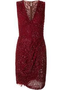 Lethicia Bronstein Vestido Curto De Renda Bordado - Vermelho