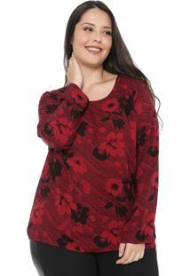 Blusa Cativa Plus Floral Vermelha