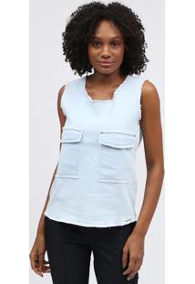 Blusa Jeans Com Bolsos - Azul Claroscalon