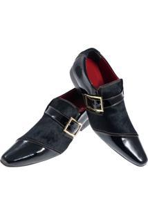 Sapato Masculino Italiano Social Executivo Em Couro Art Sapatos Preto Suave - Kanui