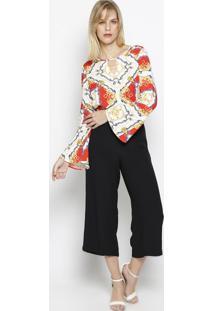 Camisa Arabescos Com Recortes Vazados - Branca & Douradavip Reserva