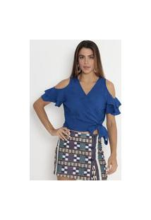 Blusa Cropped Com Bordado Azul