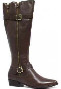 Bota Zariff Shoes Montaria Em Couro Fivela Marrom