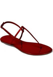 Rasteira Mercedita Shoes Verniz Lisa Feminina - Feminino-Vermelho