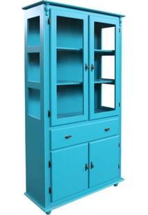 Cristaleira Arca Pé Bola 4 Portas 1 Gaveta + 3 Nichos - Azul - Tommy Design