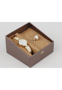 Kit De Relógio Analógico Mondaine Feminino + Colar - 83381Lpmvdm1K Dourado - Único