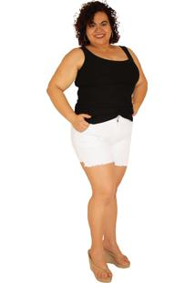Shorts True E-Motion Sarja Com Elastano Plus Size Do 46 Ao 60 - Hightsummer19 Branco