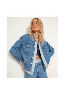 Jaqueta Oversized Jeans Vista Dupla Bff Azul Médio