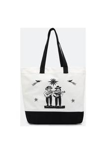 Bolsa Tote Bag Em Algodão Com Estampa Xilogravura