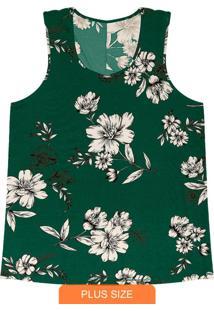 Regata Feminina Floral Verde