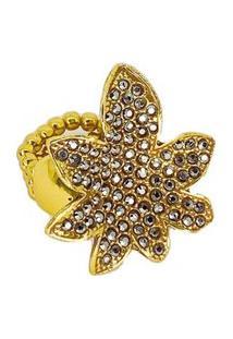 Anel Armazem Rr Bijoux Flor Cristais Swarovski Dourado