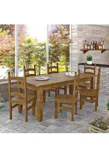 Conjunto Mesa 1,82M E 6 Cadeiras Rústico Corona Ideal P/ Area Externa Madeira Maciça