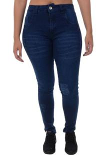 Calça Jeans Tricats Slim Flowers - Marinho / 36