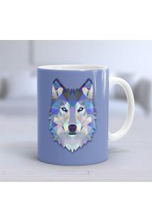 Caneca Porcelana Wevans Lobo Geométrico -