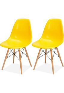 Kit 02 Cadeiras Decorativas Lyam Decor Eiffel Charles Amarelo. - Amarelo - Dafiti
