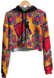 Blusa Cropped Moletom Feminina Overfame Estampa Africana Md1 - Laranja/Vermelho - Feminino - Poliã©Ster - Dafiti
