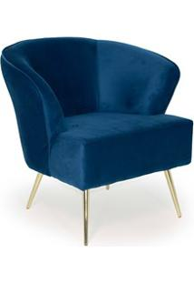Poltrona Decorativa Pés Gold Iris B-170 Veludo Azul - Domi