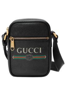 Gucci Bolsa Tiracolo Com Estampa Gucci De Couro - Preto