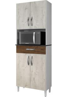 Paneleiro Plus Nevada/Cacau 04 Portas 01 Gaveta- Arte Móveis