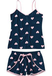 Pijama Azul Escuro Malha Corações Feminino