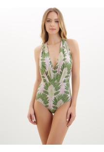 Body Rosa Chá Bia Fan Beachwear Estampado Feminino (Fan, Pp)