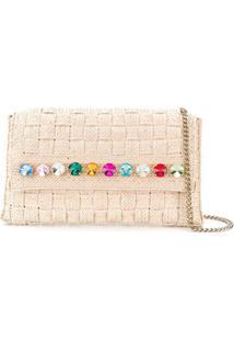 Casadei Rhinestone-Embellished Woven Shoulder Bag - Neutro