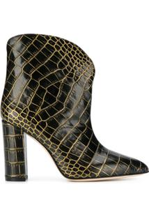 Paris Texas Ankle Boot Com Efeito Pele De Crocodilo E Salto 100Mm - Preto