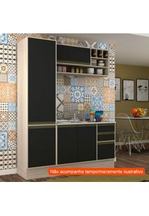 Cozinha Compacta Safira 5 Pt 3 Gv Preta E Creme