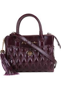 Bolsa Couro Luiza Barcelos Mini Bag Feminina - Feminino-Roxo