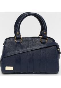 Bolsa Em Couro Com Recortes- Azul Marinho & Dourada-Gregory