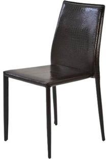Cadeira Amanda Crocco 6606 Em Metal Pvc Marrom - 32871 - Sun House