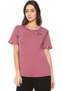 Camiseta Lança Perfume Com Broche Rosa