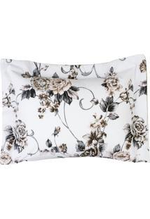 Porta Travesseiro Desire Estampado 1 Pç 200 Fios Flor Branca