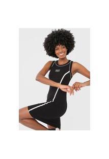 Vestido Colcci Fitness Curto Canelado Preto/Branco