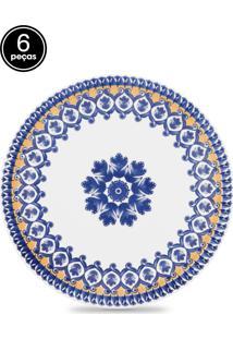 Conjunto Pratos Rasos Oxford 6Pçs Mail Order Floreal La Carreta Branco/Azul
