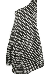 Pleats Please Issey Miyake Patterned One-Shoulder Dress - Preto