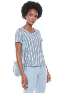 Blusa Cativa Listrada Azul/Branca