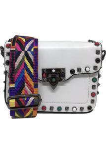 Bolsa Casual Transversal Alça Colorida Sys Fashion 830302 Branco