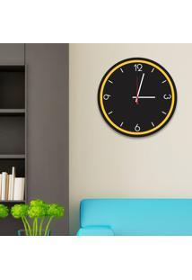 Relógio De Parede Decorativo Premium Preto Ônix Com Borda Amarela Em Relevo Médio