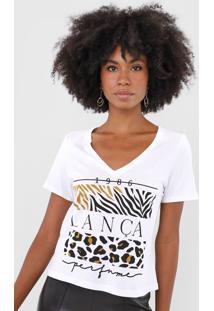 Camiseta Lança Perfume Animal Print Branca