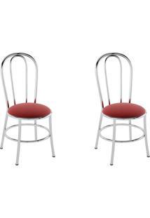Kit 2 Cadeiras Pc01 Assento Nobuck Vermelho - Pozza
